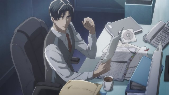 Zen Seizaki at his desk from the anime series Babylon