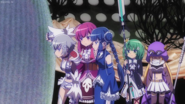 A group of five magical girls from the anime series Madoka Magica: Magia Record