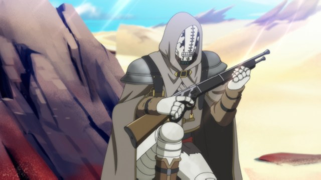 Golem holding a flare rifle from the anime series Somali and the Forest Spirit