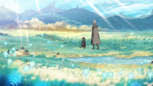 Somali and Golem traveling through grasslands from the anime series Somali and the Forest Spirit