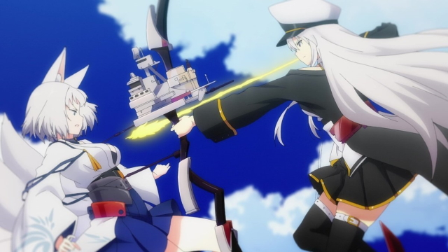 Enterprise and Kaga from the anime series Azur Lane