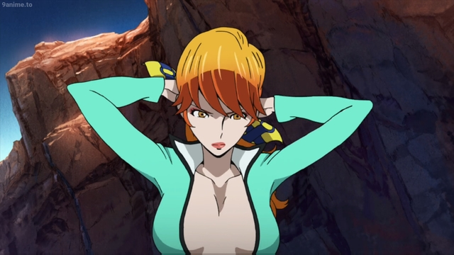 Fujiko Mine getting ready to fight from the anime movie Lupin the IIIrd: Fujiko's Lie