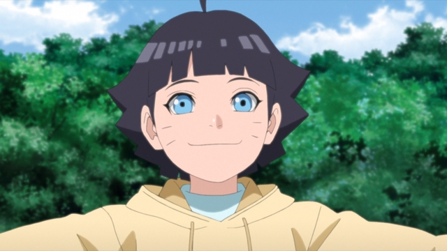Himawari celebrating the completion of the mission from the anime series Boruto: Naruto Next Generations