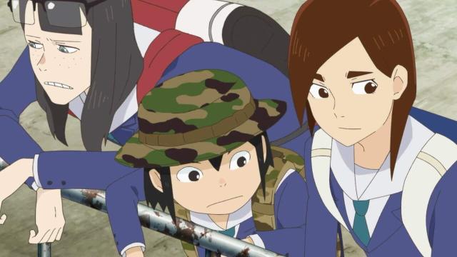 Kanamori, Asakusa, and Mizusaki from the anime series Keep Your Hands Off Eizouken!