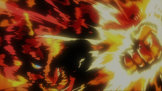 Endeavor fighting the Nomu from the anime series My Hero Academia season 4