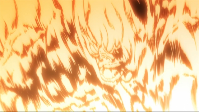 Endeavor using his ultimate move: Prominence Burn from the anime series My Hero Academia season 4