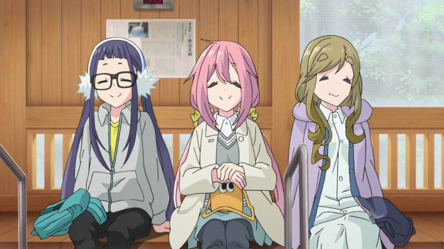 Chiaki, Nadeshiko, and Aoi relaxing from the anime series Room Camp