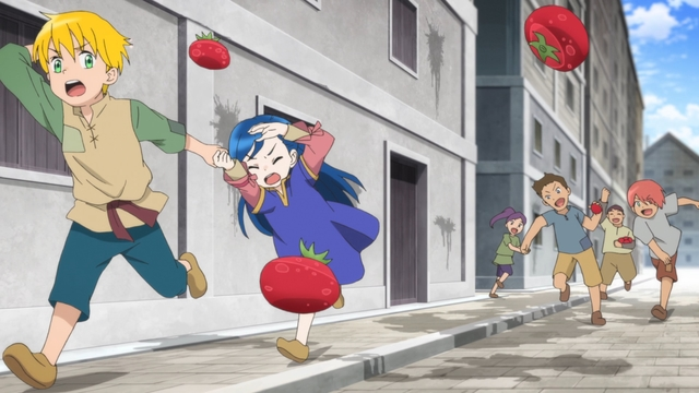 Myne and Lutz running from children in town from the anime series Ascendance of a Bookworm season 2