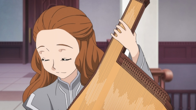 Rosina playing the harspiel from the anime series Ascendance of a Bookworm season 2