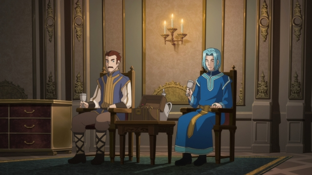 Ferdinand and Karstedt discussing Myne from the anime series Ascendance of a Bookworm season 2
