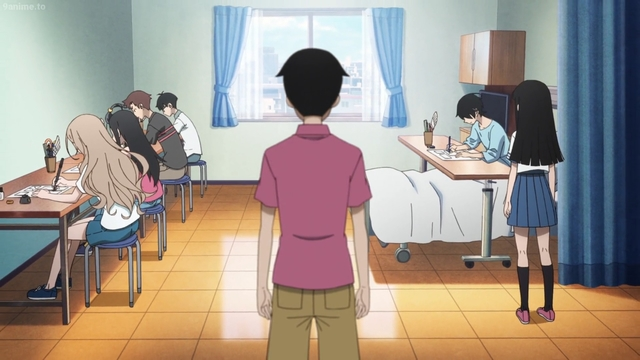 Kakushi and his underlings creating manga in the hospital from the anime series Kakushigoto