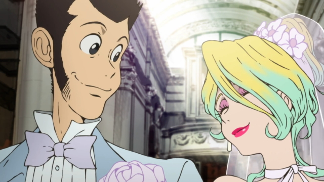 Lupin and Rebecca getting married from the anime series Lupin III (2015)