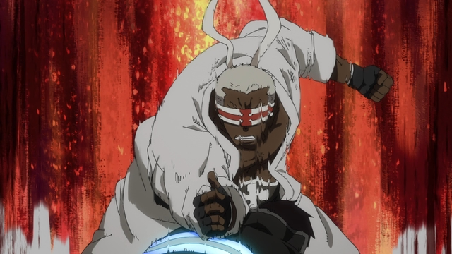 Charon smashing Shinra from the anime series Fire Force season 2
