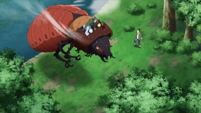 Shino rescuing Boruto and Mitsuki with his giant insect summon from the anime series Boruto: Naruto Next Generations