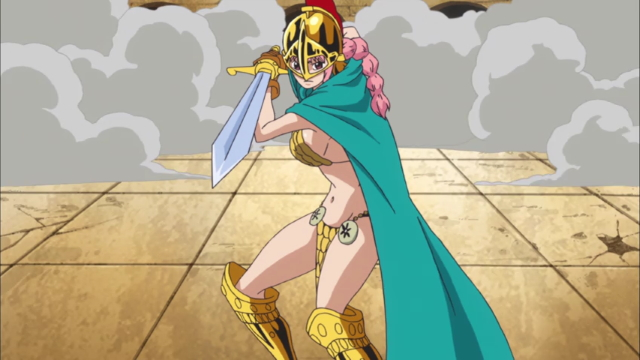 Rebecca taking an offensive stance from the anime series One Piece (Dressrosa)