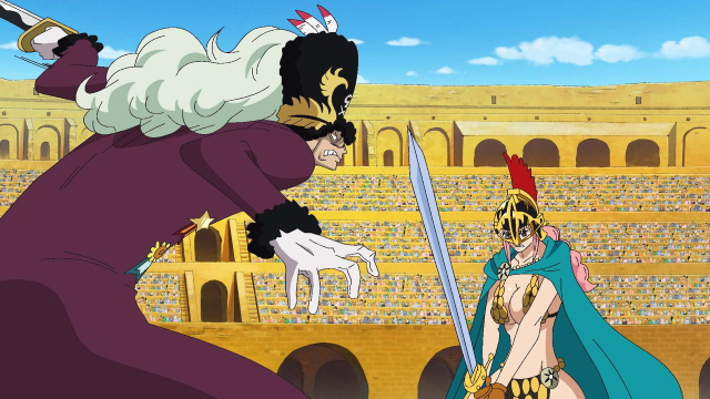 Rebecca fighting Suleiman in the Colosseum from the anime series One Piece (Dressrosa)