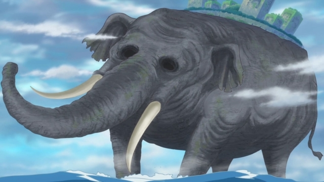 The nation of Zou on the giant elephant's back from the anime series One Piece
