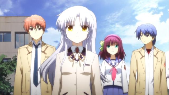 Otonashi, Kanade, Yuri, and Hinata from the anime series Angel Beats!