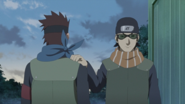 Konohamaru and Mugino leaving the Leaf Village from the anime series Boruto: Naruto Next Generations
