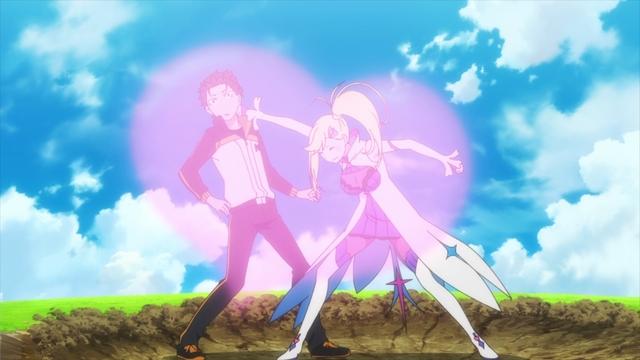 Minerva punching Subaru from the anime series Re:ZERO season 2