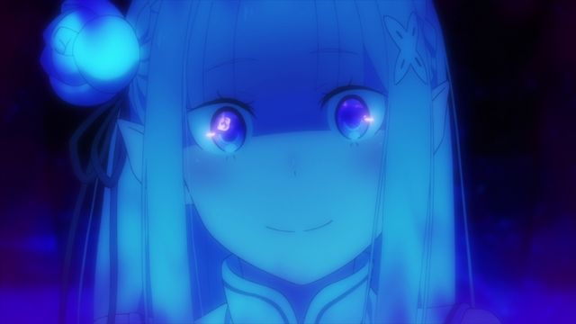 A mentally broken Emilia from the anime series Re:ZERO season 2