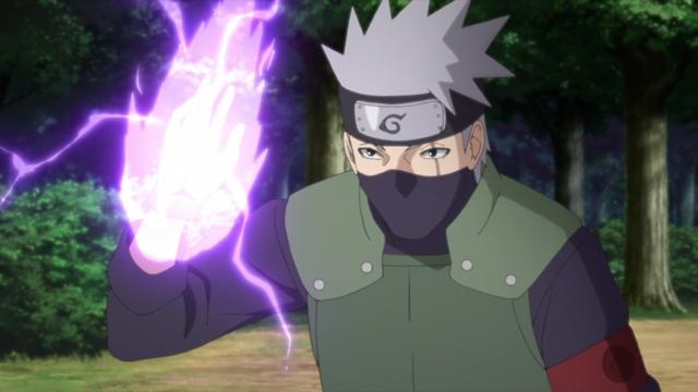 Kakashi using a purple lightning chakra transformation from the anime series Boruto: Naruto Next Generations