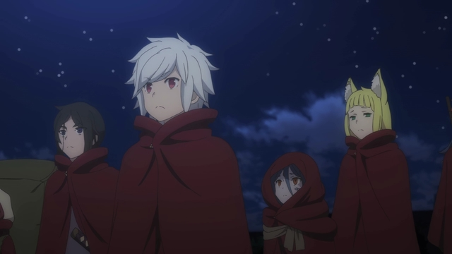 The Hestia Familia heading into the dungeon from the anime series DanMachi III