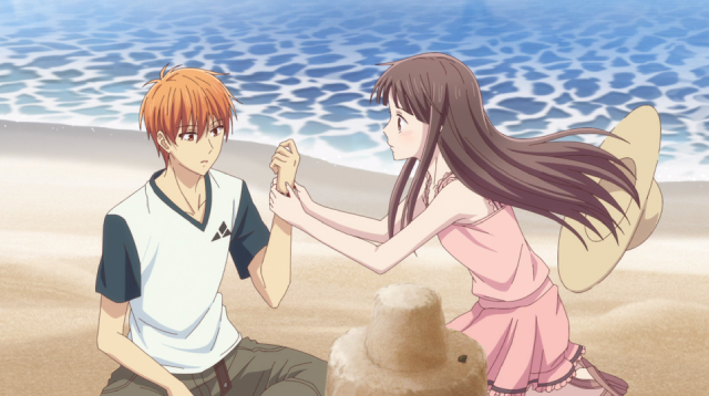 Tooru and Kyo on the beach from the anime series Fruits Basket 2nd Season