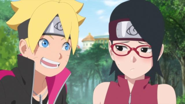 Boruto and Sarada from the anime series Boruto: Naruto Next Generations