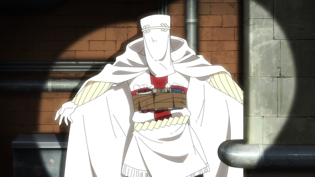 A White Clad suicide bomber from the anime series Fire Force Season 2