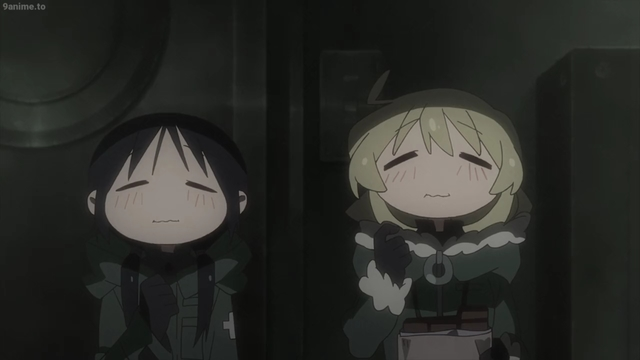 Yuu and Chi eating chocolate from the anime series Girls' Last Tour