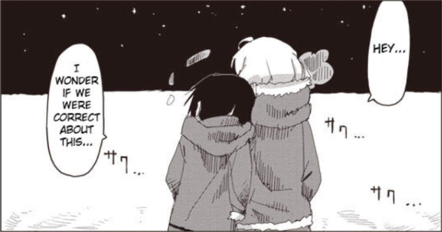 Chi and Yuu questioning their lives from the manga series Girls' Last Tour
