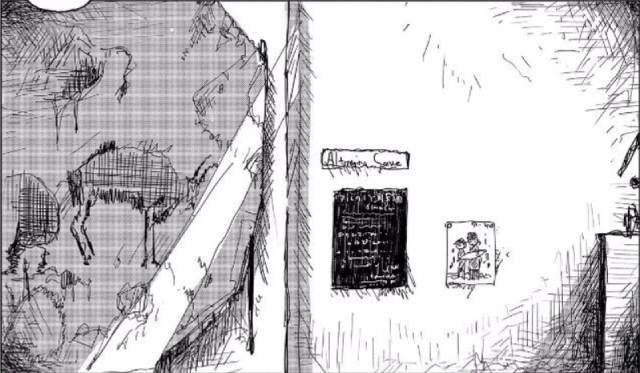 Yuu's drawing next to cave paintings from Altamira from the manga series Girls' Last Tour