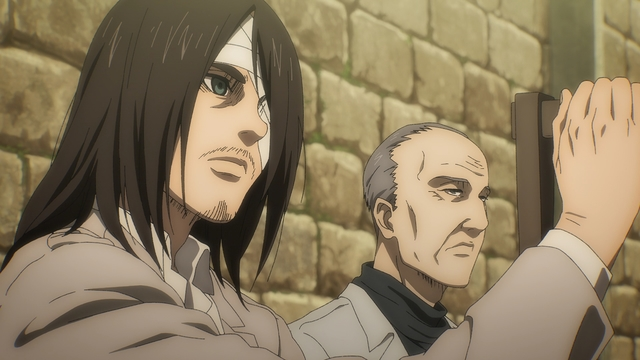 Eren talking to his grandfather at the hospital from the anime series Attack on Titan: The Final Season