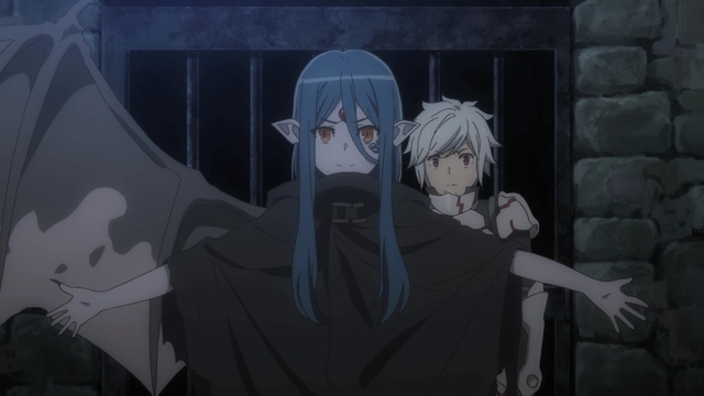 Wiene protecting Bell from Ais from the anime series DanMachi III