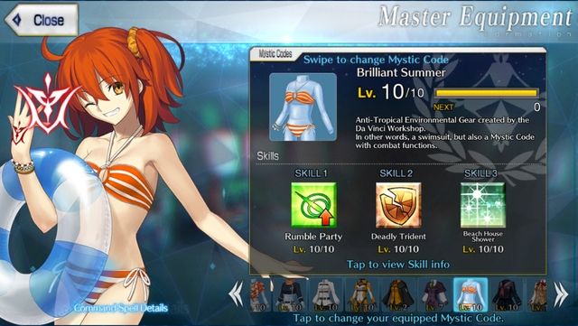 The Brilliant Summer mystic code from the mobile game Fate/Grand Order