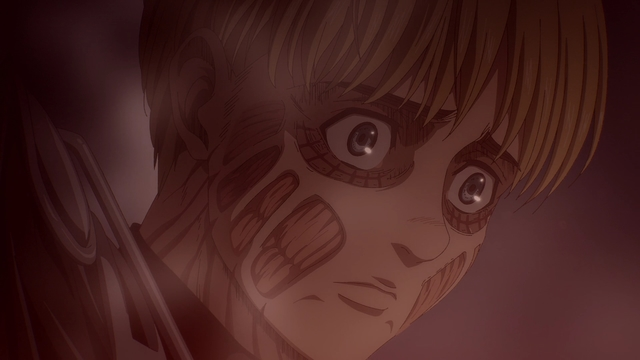 Armin looking down at the destruction he caused from the anime series Attack on Titan: The Final Season