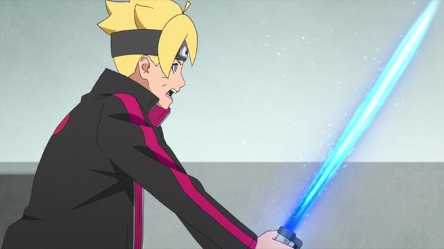 Boruto using a chakra light saber from the anime series Boruto: Naruto Next Generations