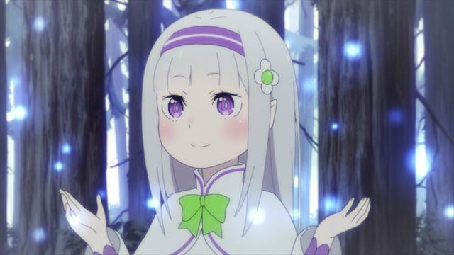 Child Emilia surrounded by lesser spirits from the anime series Re:ZERO Season 2
