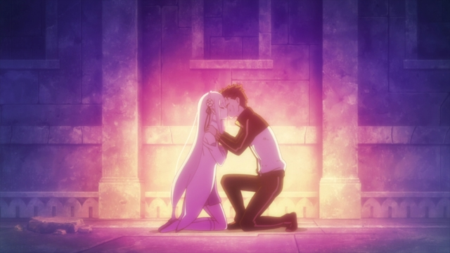 Subaru kissing Emilia from the anime series Re:ZERO Season 2 Part 2