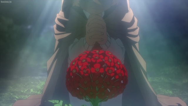 Emma praying over a vida plant from the anime series The Promised Neverland 2nd Season