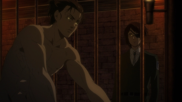 Hange meeting Eren in his jail cell from the anime series Attack on Titan: The Final Season