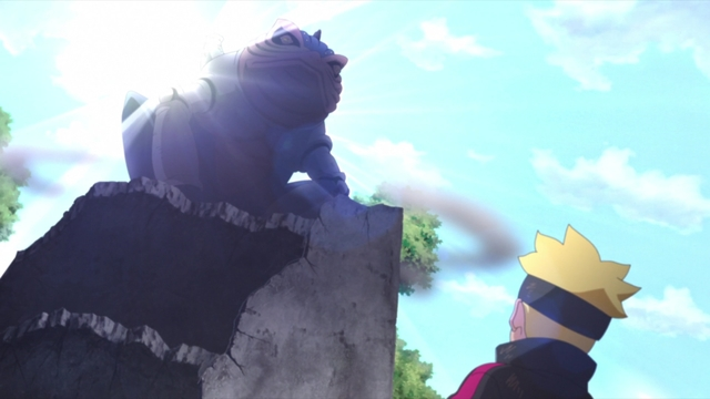 Koji Kashin and his Steam Toad summon from the anime series Boruto: Naruto Next Generations
