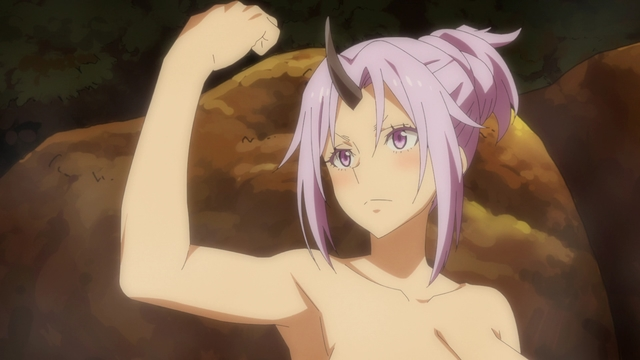 Shion in the onsen from the anime series That Time I Got Reincarnated as a Slime Season 2