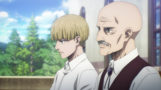 Commander Pyxis meeting with Yelena from the anime series Attack on Titan: The Final Season
