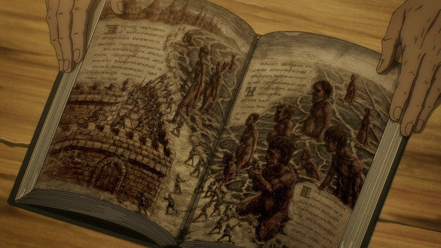 """An """"Eldian history"""" book from the anime Attack on Titan: The Final Season"""