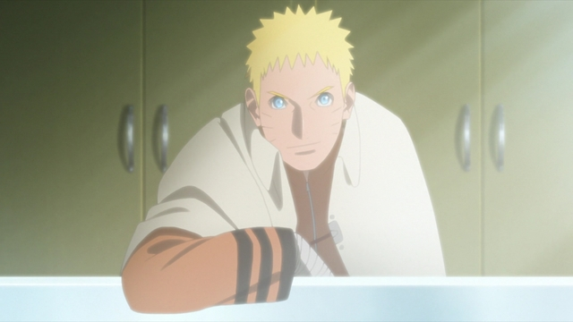 Naruto greeting Kawaki from the anime series Boruto: Naruto Next Generations