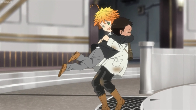 Emma and Phil reuniting from the anime series The Promised Neverland 2nd Season