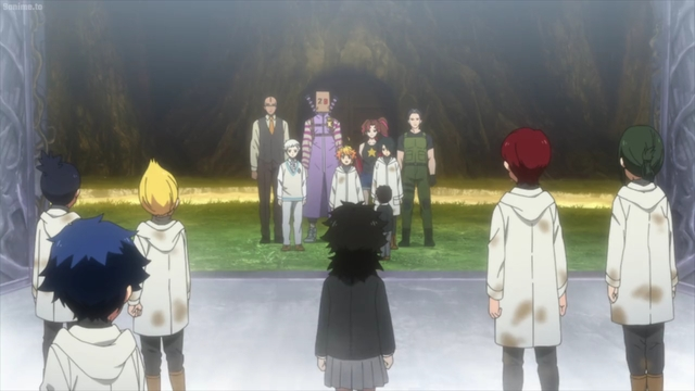 Emma & the gang staying behind in the demon world from the anime series The Promised Neverland 2nd Season