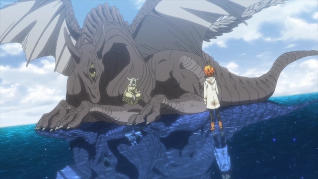 Emma talking to a demon, dragon sage of some kind (I guess?) from the anime series The Promised Neverland 2nd Season